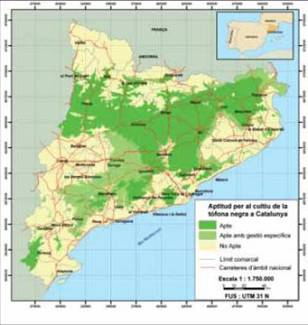 potential area for truffle farming map for catalonia 2007