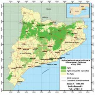 potential area for truffle farming in catalonia in 2030